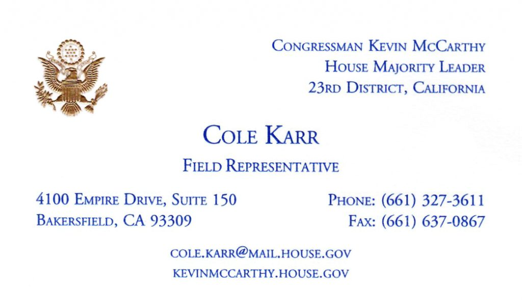 Meet with House Majority Leader Kevin McCarthys Field Rep Cole Karr @ Porterville City Hall